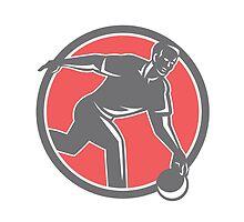 Bowler With Bowling Ball Circle Retro by patrimonio