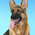 Impressive German Shepherd Painting with his Tongue Out by ibadishi
