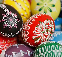 Painted Easter Eggs - Red Green Yellow Blue by sitnica