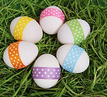 Easter Eggs, Ribbons, Dots - Yellow Pink Purple by sitnica