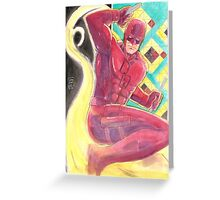 Fearless Daredevil Stained Glass and Smoke Greeting Card