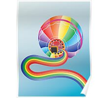 Air balloon with rainbow 2 Poster
