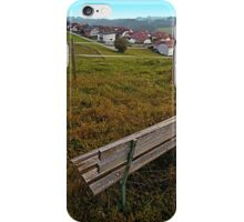 Bench with a village view | landscape photography iPhone Case/Skin