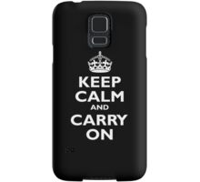 Keep Calm & Carry On, Be British! UK, United Kingdom, white on black Samsung Galaxy Case/Skin