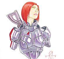 Mass Effect Commander Shepard FemShep Fan Art Bust by penpaperflava