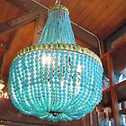 Turquoise chandelier from Roger's Gardens by SizzleandZoom