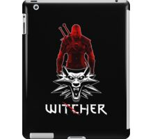 Geralt and Wolf medallion The Witcher (white text) iPad Case/Skin