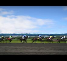 Race Horses Under Blue Skies by Greenbaby