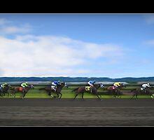 Race Horses Under Blue Skies by Greenbaby