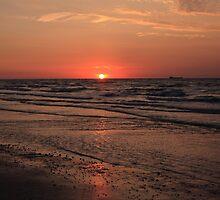 Normandy Beach At Sunset by aidan  moran
