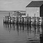 Hall&#x27;s Harbour Wharf (B&amp;W) by Scott Ruhs