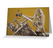 Biker chick on Chopper by JennyA Greeting Card