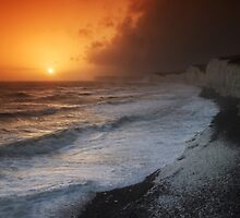 LIGHT FROM THE STORM - SEASCAPE SUNSET AT BIRLING GAP by GemPhotography