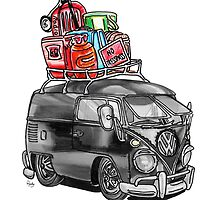VW Type 2 Bus Split Screen Panel Cartoon by roudyb