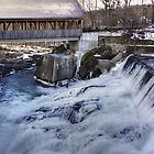 Quechee, Vt. covered bridge and dam by Nancy Richard