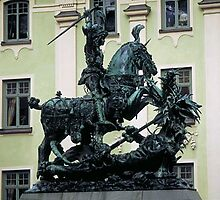 St George slaying dragon, Stockholm, Sweden by chord0
