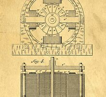 TESLA POSTER Electric Motor 1888 Patent  by Edward Fielding