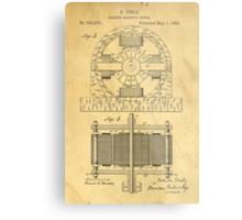 TESLA POSTER Electric Motor 1888 Patent  Metal Print