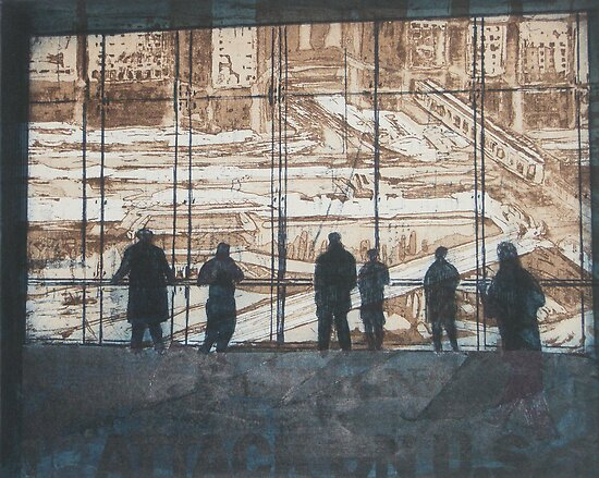 Etching - Viewing reconstruction of Ground Zero by Marion Chapman