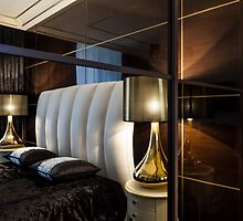 Interior bedroom bed and table lamps by mrivserg