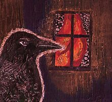 Raven peered in through the window by Matthew Rogers