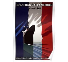 French Cruise Liner, Red White and Blue Poster