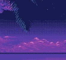 Purple Pixelated Landscape by g66by