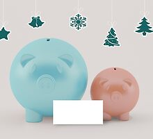 two different piggy bank with christmas decoration by thinkoddin