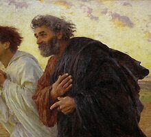 Apostles Peter and John hurry to the tomb on the morning of the Resurrection ca. 1898 by Eugène Burnand by Adam Asar