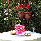 Outdoor Dining with Flowers by DARRIN ALDRIDGE