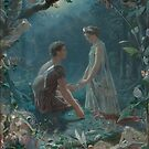 Hermia and Lysander from A Midsummer Night's Dream, painted by John Simmons in 1870 by Adam Asar