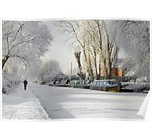 Boats on the Frozen Burton Canal Poster