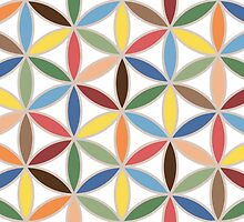 Flower of Life Retro Color Big Pattern by NataliePaskell