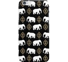 Elephant pattern in gold black and white gender neutral design modern tribal aztec triangles iPhone Case/Skin