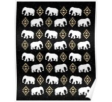 Elephant pattern in gold black and white gender neutral design modern tribal aztec triangles Poster
