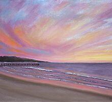 Sunset Pier Pastel by AngelaBishop