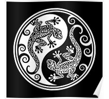 Black and White Yin Yang Geckos Poster