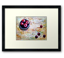 Cherries... with a Picnic Table Framed Print