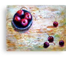 Cherries... with a Picnic Table Canvas Print