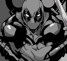 Deadpool - Pose - black and white Sticker