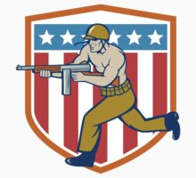 World War Two Soldier American Tommy Gun Shield T-Shirt