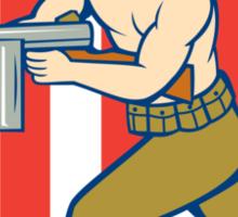 World War Two Soldier American Tommy Gun Shield Sticker