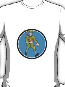 World War One Soldier British Marching Circle Cartoon T-Shirt