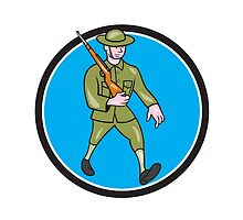 World War One Soldier British Marching Circle Cartoon by patrimonio