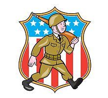 World War Two Soldier American Cartoon Shield by patrimonio