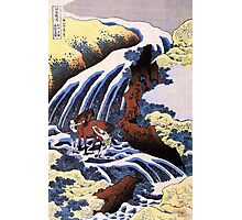 'Waterfall and Horse Washing' by Katsushika Hokusai (Reproduction) Photographic Print