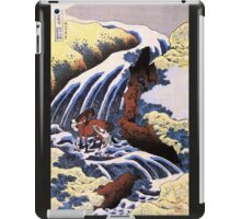 'Waterfall and Horse Washing' by Katsushika Hokusai (Reproduction) iPad Case/Skin