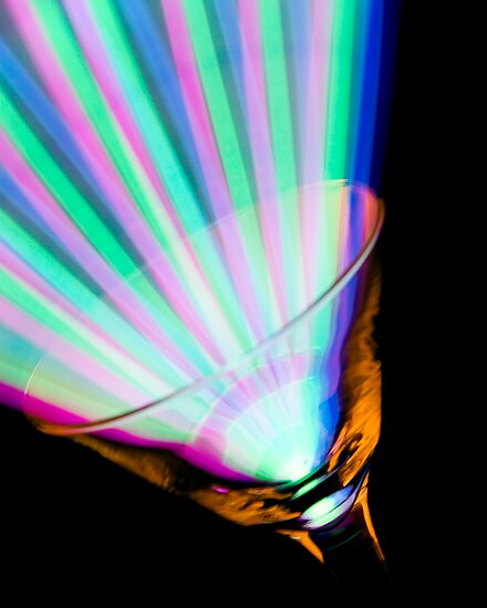 Colorful Glowing Martini Glass by Lisa Williams
