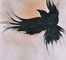 Crow Flying Sepia Black and White Art by ArtMK