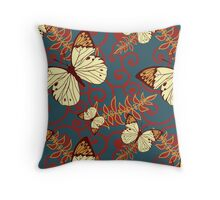 Butterflies, Insects, Swirls - Red Blue Brown  Throw Pillow